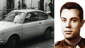El vehículo en el que iban 'Txabi' y Sarasketa (izq), junto a la fotografía de Pardines Arcay.