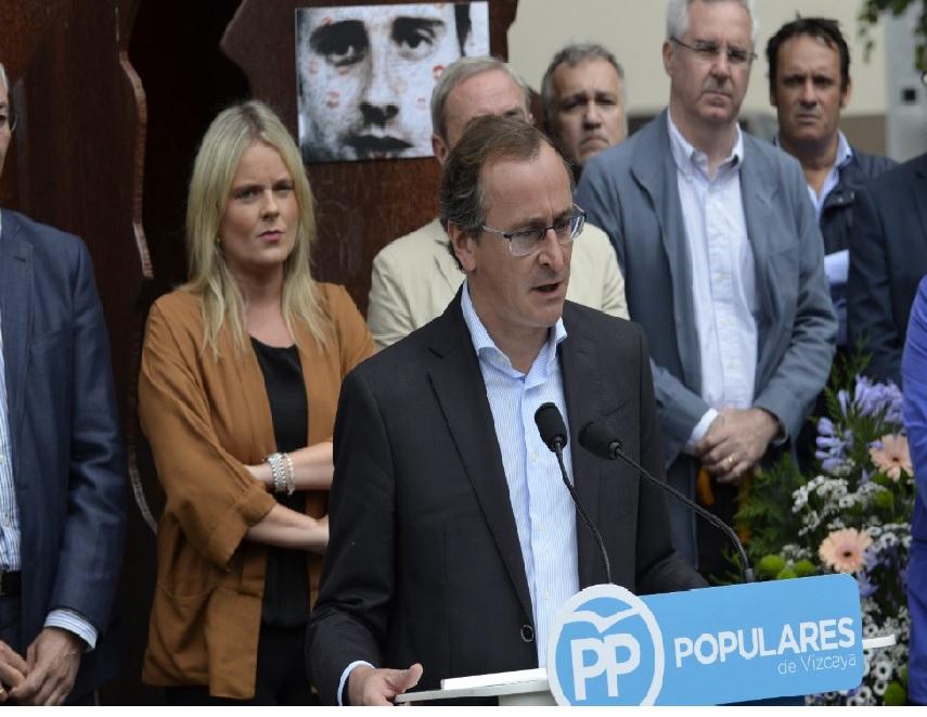 El presidente del PP vasco, Alfonso Alonso durante su discurso